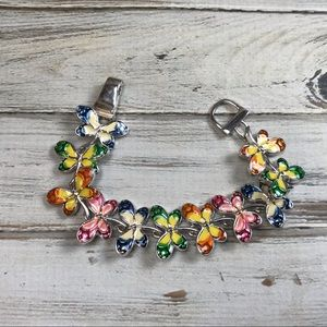 Jewelry - Colorful rainbow enamel dragonfly bracelet